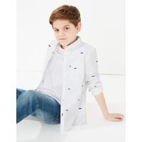 Cotton Embroidered Shark Shirt (6-16 Years)