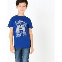 Cotton Snow Day Slogan Gamer T-Shirt (3-16 Years)