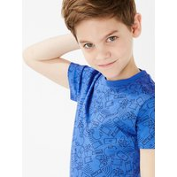 Pure cotton Tech Patterned T-Shirt (6-16 Years)
