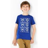 Regular Fit Cotton Ho Ho Ho T-Shirt (3-16 Years)