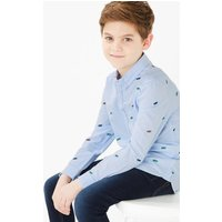 Cotton Skateboard Embroidery Oxford Shirt (6-16 Years)