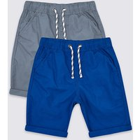 2 Pack Pure Cotton Shorts (3-16 Years)