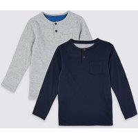 2 Pack Cotton Grandad Tops (3 Months - 7 Years)