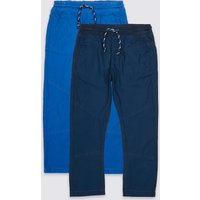 2 Pack Cotton Ripstop Trousers (3 Months - 7 Years)