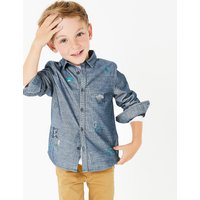 Pure Cotton Cord Embroidered Shirt (3 Months - 7 Years)