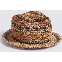 Kids' Straw Trilby Crochet Hat (3-14 Years)