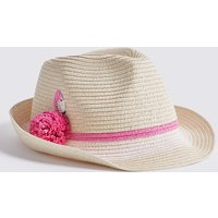 Kids' Flamingo Straw Trilby Hat (3-14 Years)