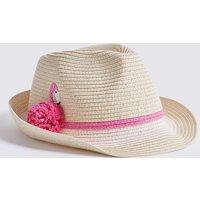 Kids' Flamingo Straw Trilby Hat (3-14 Years)