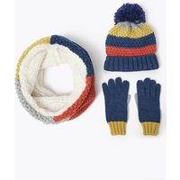 Kids Striped Hat, Snood and Gloves Set (3-14 Years)