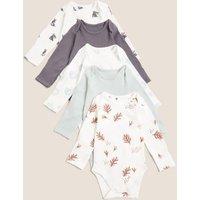 M&S Unisex Boys Girls 5pk Pure Cotton Print Bodysuits (7lbs-12 Mths) - NB - Multi, Multi