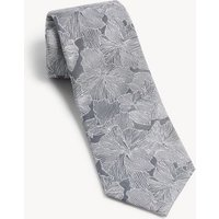 M&S Jaeger Mens Floral Pure Silk Tie - 1SIZE - Pink Mix, Pink Mix,Grey Mix
