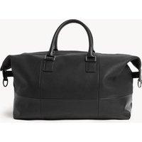 MandS Jaeger Mens Leather Weekend Bag - 1SIZE - Black, Black