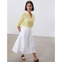 MandS Jaeger Womens Pure Linen Broderie Midi A-Line Skirt - 12 - White, White