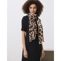 M&S Jaeger Womens Pure Modal Leopard Print Scarf - 1SIZE - Natural Mix, Natural Mix