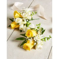 M&S Yellow & White Rose & Freesia - Additional Corsages x 2