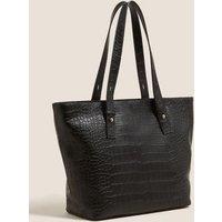 M&S Womens Faux Leather Tote Bag - 1SIZE - Black, Black,Tan,Cream