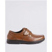 M&S Mens Wide Fit Airflextm Leather Shoes - 6 - Black, Black,Tan