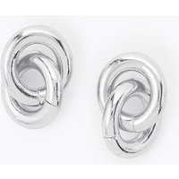 M&S Womens Loop Stud Earrings - 1SIZE - Silver, Silver,Gold