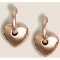 M&S Womens Chunky Heart Hoop Earrings - 1SIZE - Rose, Rose