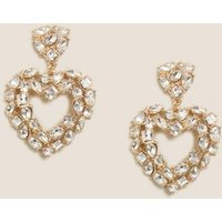 M&S Womens Sparkle Heart Statement Drop Earrings - 1SIZE - Gold Mix, Gold Mix
