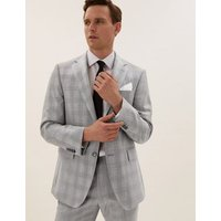 M&S Savile Row Inspired Mens Checked Tailored Fit Wool Jacket - 40SHT - Grey Mix, Grey Mix
