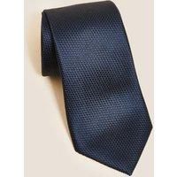 M&S Mens Textured Pure Silk Tie - 1SIZE - Navy, Navy,Black,Burgundy,Teal
