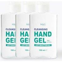 M&S 3 Pack Antibacterial Hand Sanitiser Gel 100ml - 1SIZE