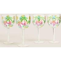 M&S Set of 4 Flamingo Picnic Wine Glasses - 1SIZE - Multi, Multi