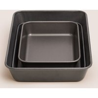 M&S Set of 3 Carbon Steel Roasting Trays - 1SIZE - Silver, Silver
