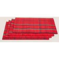 M&S Set of 4 Tartan Placemats - 1SIZE - Red, Red