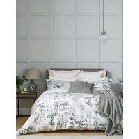 MandS Sanderson Pure Cotton King Protea Duvet Cover - 5FT - Grey, Grey