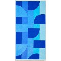 M&S Pure Cotton Geometric Beach Towel - 1SIZE - Blue Mix, Blue Mix