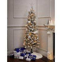 M&S 6ft Pre-lit Slim Snowy Christmas Tree - 1SIZE - White Mix, White Mix