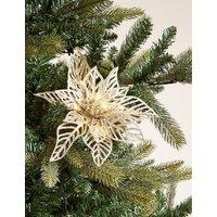 M&S Glitter Light Up Flower Tree Decoration - 1SIZE - Gold, Gold