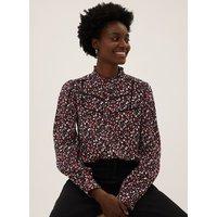 MandS Womens Cotton Printed Textured Blouse - 8 - Black Mix, Black Mix
