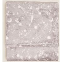M&S Fleece Shooting Star Throw - 1SIZE - Light Grey, Light Grey