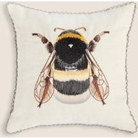 M&S Bumblebee Embroidered Cushion - 1SIZE - Neutral, Neutral