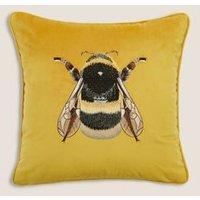 M&S Velvet Bee Embroidered Cushion - Silver, Silver,Duck Egg,Ochre,Emerald,Green,Navy