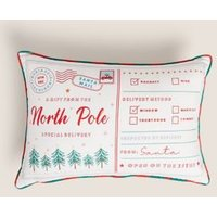 MandS Cotton Mix Letters To Santa Bolster Cushion - Red Mix, Red Mix