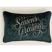 MandS Slogan Embroidered Velvet Bolster Cushion - 1SIZE - Dark Green, Dark Green