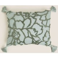 MandS Cotton Floral Tufted Bolster Cushion - Blue, Blue
