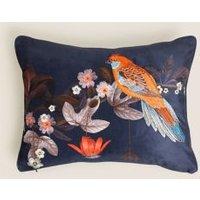 MandS Bird Embroidered Bolster Cushion - 1SIZE - Burgundy Mix, Burgundy Mix