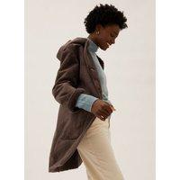 MandS Womens Hooded Reversible Coat - 6 - Natural Beige, Natural Beige