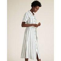 M&S Womens Linen Striped Belted Midi Shirt Dress - 10REG - White Mix, White Mix