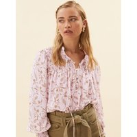 MandS Per Una Womens Ditsy Floral Tie Neck Long Sleeve Blouse - 24 - Pink Mix, Pink Mix