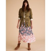 M&S Per Una Womens Floral Tiered Midaxi A-Line Skirt - 8 - Navy Mix, Navy Mix