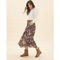 M&S Per Una Womens Floral Lace Detail Midaxi A-Line Skirt - 16 - Khaki Mix, Khaki Mix