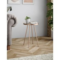 M&S Metal & Glass Round Side Table - 1SIZE - Copper, Copper,Gold