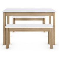 M&S Loft Dining Table with Benches - 1SIZE - White, White