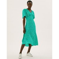 M&S Womens Floral V-Neck Angel Sleeve Midi Tea Dress - 12LNG - Green Mix, Green Mix